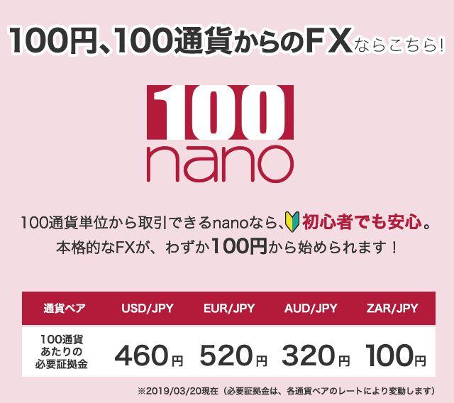 100円から投資可能なFXnano